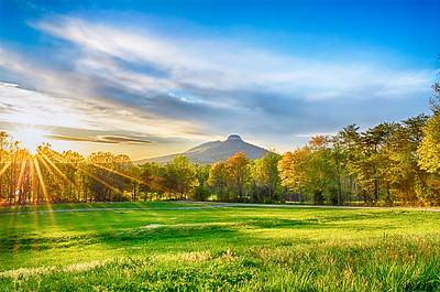 Spring Sunburst over Pilot Mountain