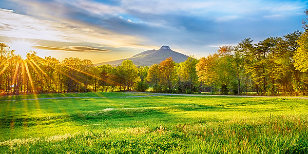 Spring Sunburst over Pilot Mountain cropped