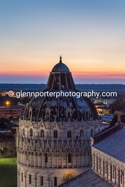 Evening view from the top of the Leaning Tower of Pisa - Duomo di Pisa (Cathedral of Pisa)