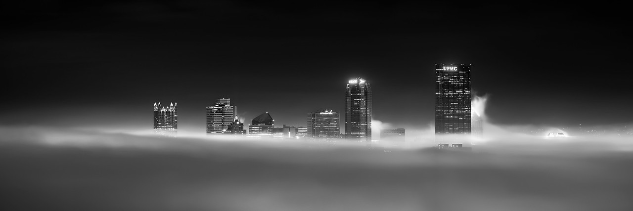 """Chasing the Cloud City (Black and White)"" - Pittsburgh, South Side   Recommended Print sizes*:  5x15  