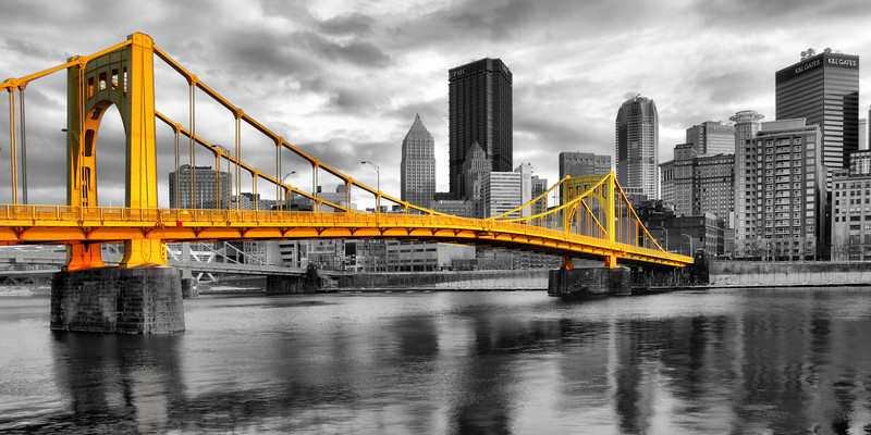 """Winter's Light (Selective Color)"" - Pittsburgh, North Shore