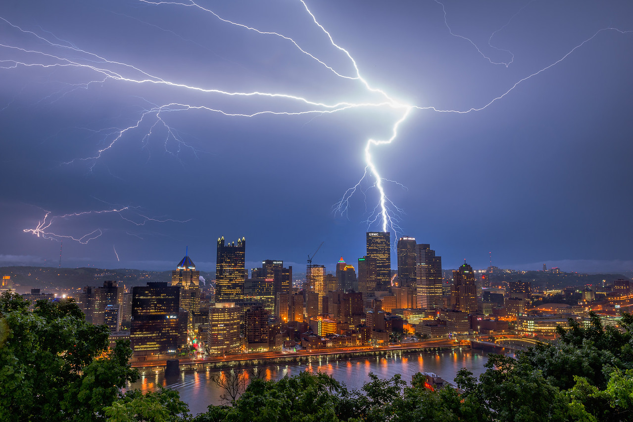 """""""Power Surge"""" - Pittsburgh, Mount Washington   Recommended Print sizes*:  4x6      8x12     12x18     16x24     20x30     24x36 *When ordering other sizes make sure to adjust the cropping at checkout*  © JP Diroll 2014"""