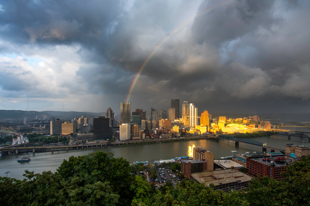 """""""Rainbow Over the Burgh"""" - Pittsburgh, Mount Washington   Recommended Print sizes*:  4x6      8x12     12x18     16x24     20x30     24x36 *When ordering other sizes make sure to adjust the cropping at checkout*  © JP Diroll 2016"""