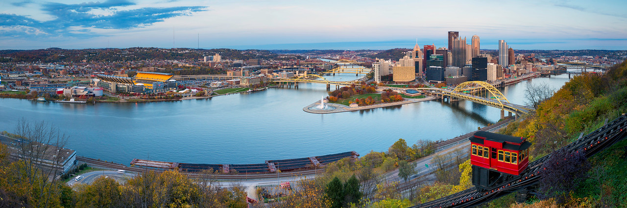 """Autumn Incline II (Panoramic)"" - Pittsburgh, Mount Washington   Recommended Print sizes*:  5x15  