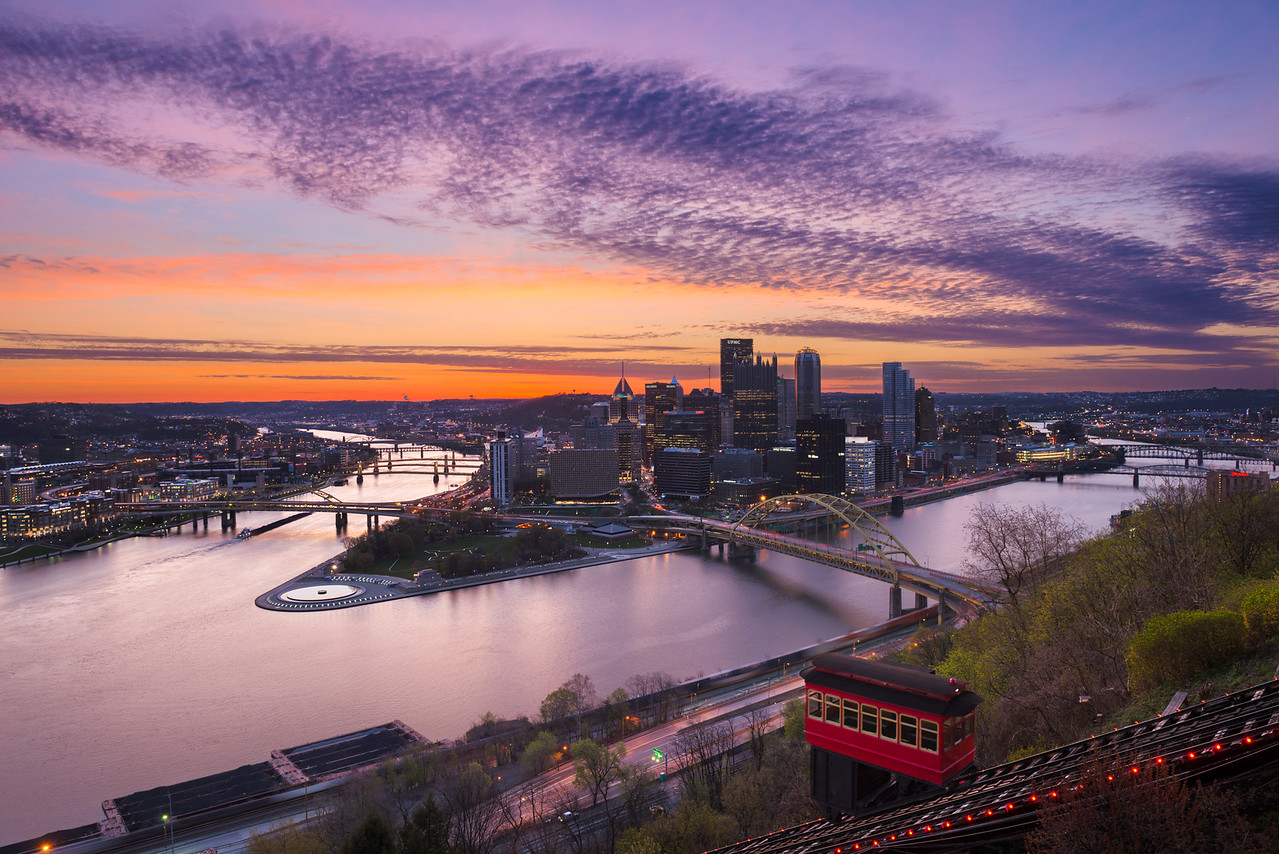 """""""Purple Dawn"""" - Pittsburgh, Mount Washington   Recommended Print sizes*:  4x6      8x12     12x18     16x24     20x30     24x36 *When ordering other sizes make sure to adjust the cropping at checkout*  © JP Diroll 2014"""