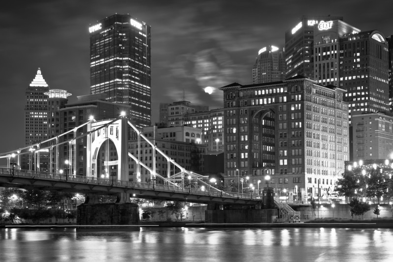 """""""Moonrise in Gotham"""" - Pittsburgh, North Shore   Recommended Print sizes*:  4x6      8x12     12x18     16x24     20x30     24x36 *When ordering other sizes make sure to adjust the cropping at checkout*  © JP Diroll 2013"""