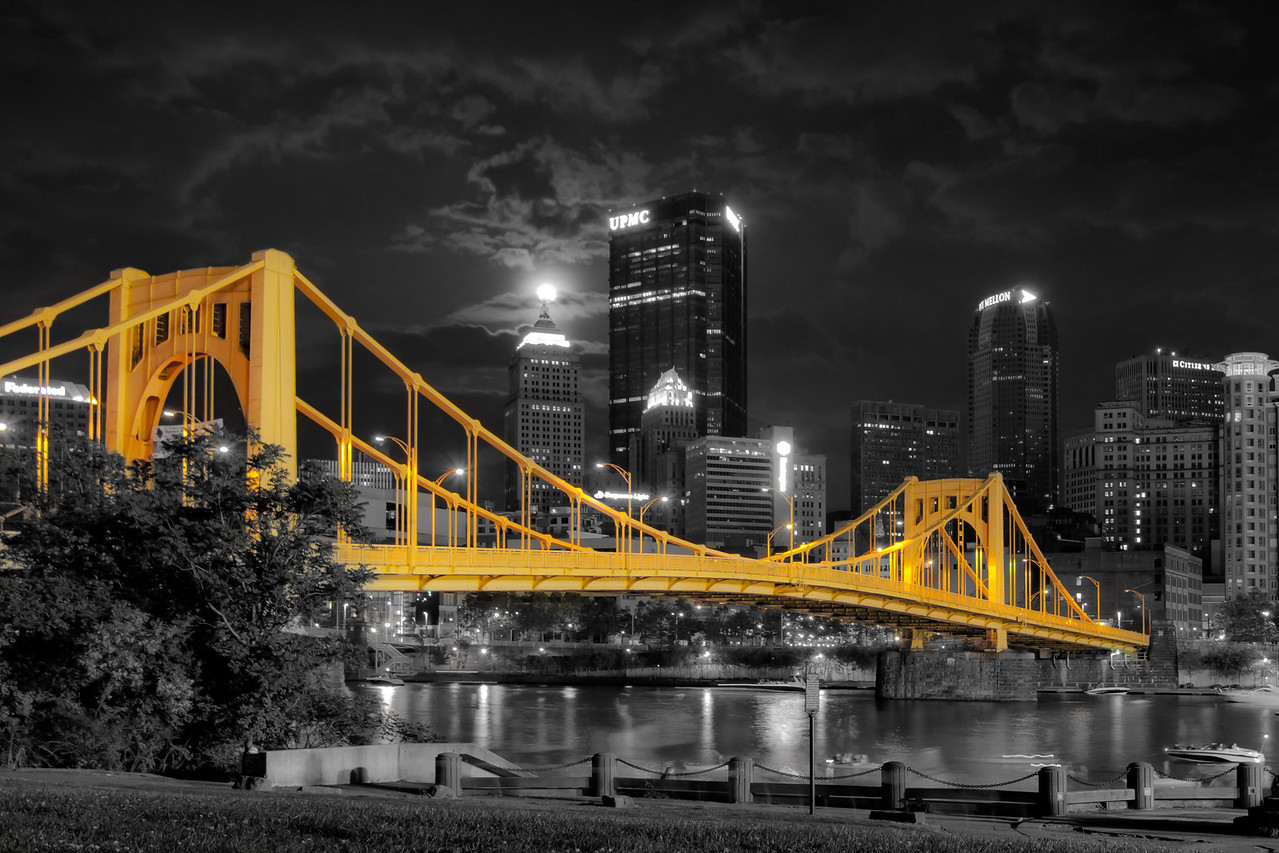 """Super Moon (Selective Color)"" - Pittsburgh, North Shore