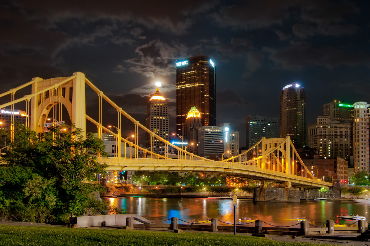 """""""Super Moon"""" - Pittsburgh, North Shore   Recommended Print sizes*:  4x6      8x12     12x18     16x24     20x30     24x36 *When ordering other sizes make sure to adjust the cropping at checkout*  © JP Diroll 2012"""