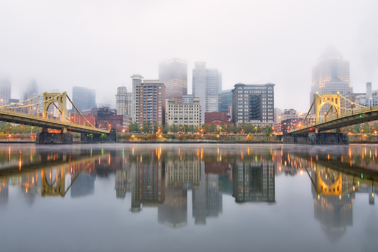 """""""Foggy Double Vision"""" - Pittsburgh, North Shore   Recommended Print sizes*:  4x6      8x12     12x18     16x24     20x30     24x36 *When ordering other sizes make sure to adjust the cropping at checkout*  © JP Diroll 2011"""