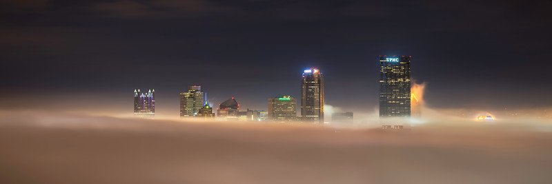 """Chasing the Cloud City"" - Pittsburgh, South Side   Recommended Print sizes*:  5x15  