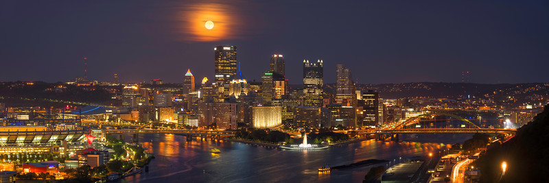 """Harvest Moon (Panoramic)"" - Pittsburgh, West End   Recommended Print sizes*:  5x15  