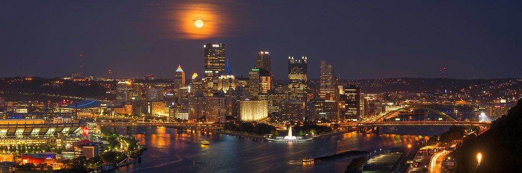 """""""Harvest Moon (Panoramic)"""" - Pittsburgh, West End   Recommended Print sizes*:  5x15  