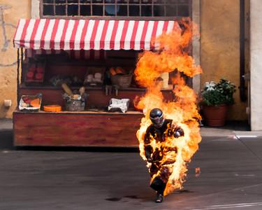 Man on fire at Disney Hollywood Studio's Stunt Show