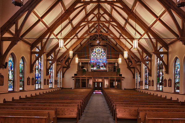 St. Marys Dekalb IL The interior of St Mary's is not ornate but the amazing stain glass makes up for that.