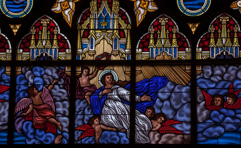 St. Marys Dekalb IL The Stained Glass Windows of St Mary's in DeKalb is amazing.  As these close ups show they''re almost 3 dimmensional and hold incredible detail.
