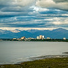Anchorage has almost no skyline as seen here, but the Chugach Mountains provide a nice backdrop for cityscape pictures.
