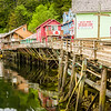 The historic Creek Boardwalk in Ketchikan, the former red light district; the sign on Dolly's House says it all.