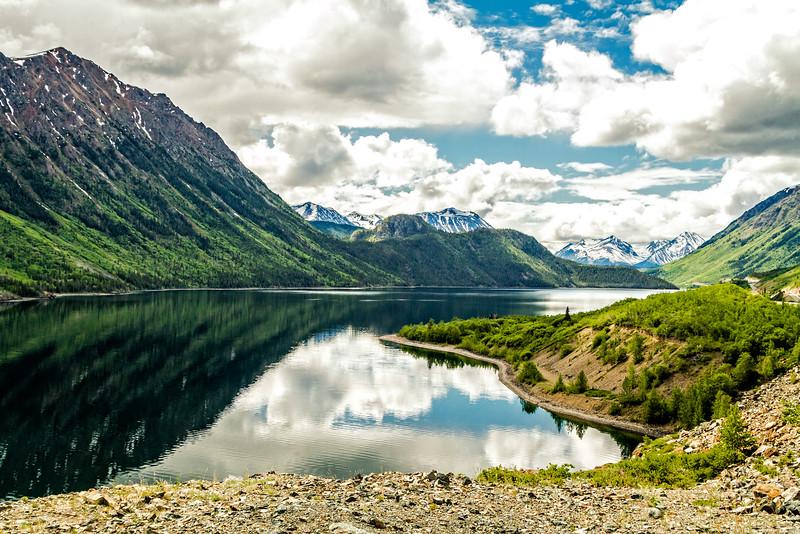 Reflections at a lake in Yukon Territory in Canada off Klondlike Hwy.