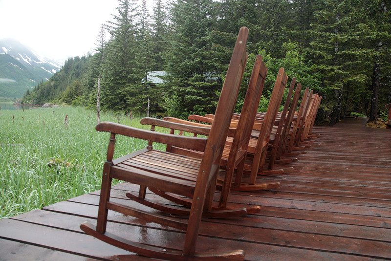 Kenai Fjords Lodge -- the main porch lineup