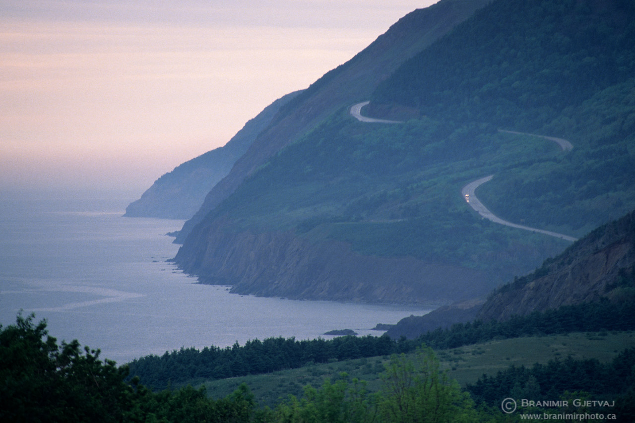 Car on Cabot Trail. Cape Breton Highlands National Park