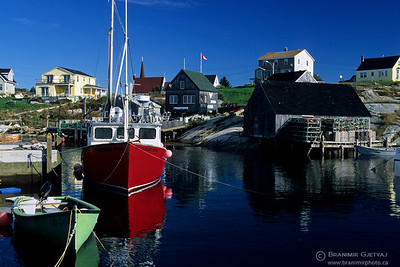 Fishing boats in harbour. Peggy's Cove, Nova Scotia