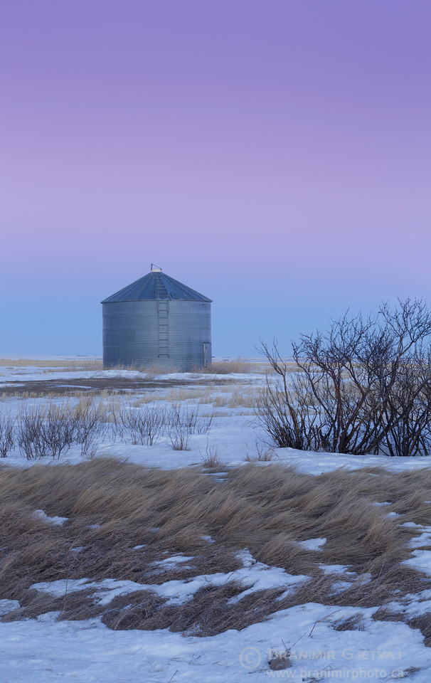 Grain bin in a snow-covered field at dusk. Elrose, Saskatchewan