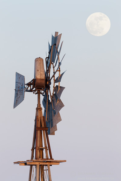 Detail of a windmill and full moon. Saskatchewan
