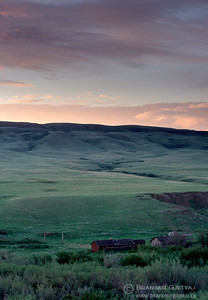 Ranch buildings in Cypress Hill at dawn