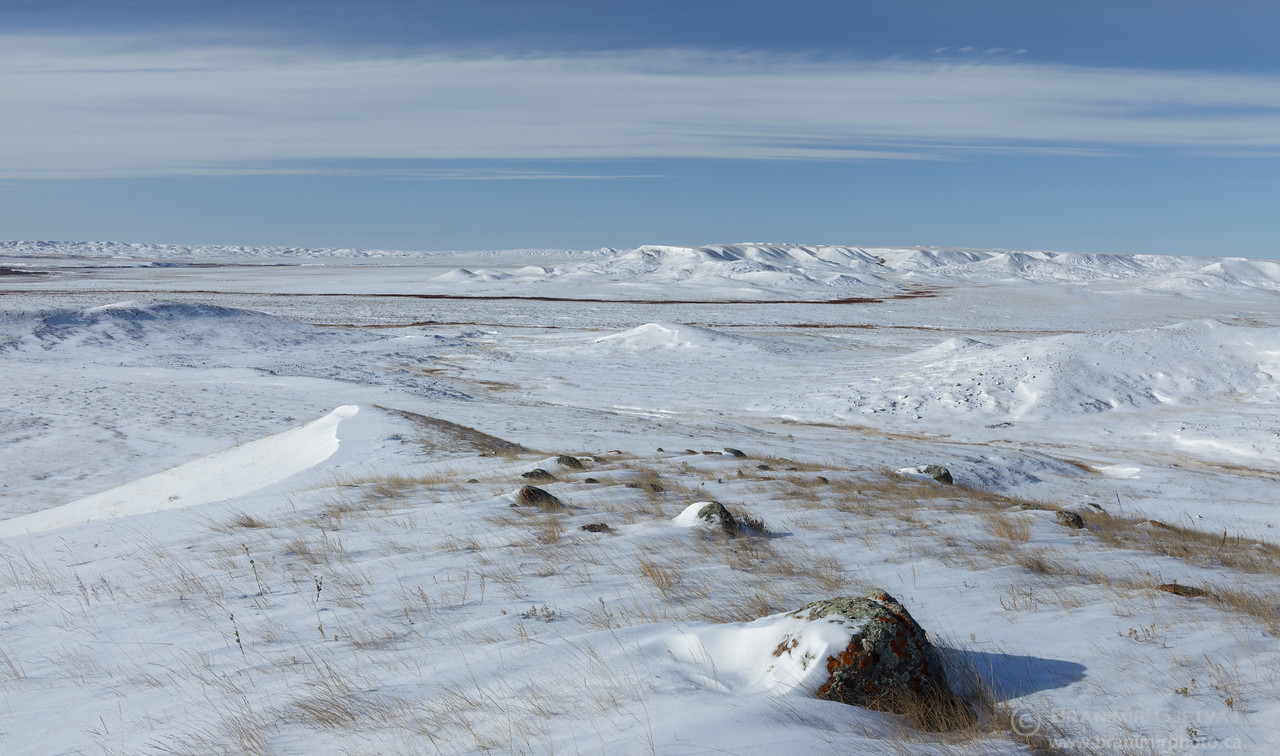 Grasslands National Park in winter, Saskatchewan (panorama)