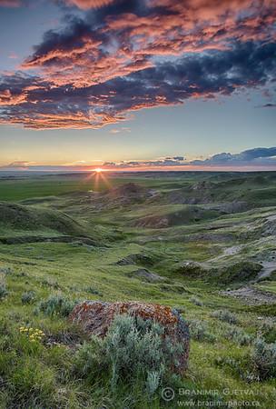 Sunset at 70 Mile Butte. Grasslands National Park, Saskatchewan