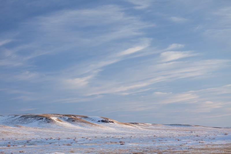 Winter prairie landscape. Grasslands National Park, Saskatchewan