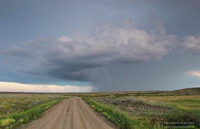 Dramatic lightning storm passing through Grasslands National Park, Saskatchewan