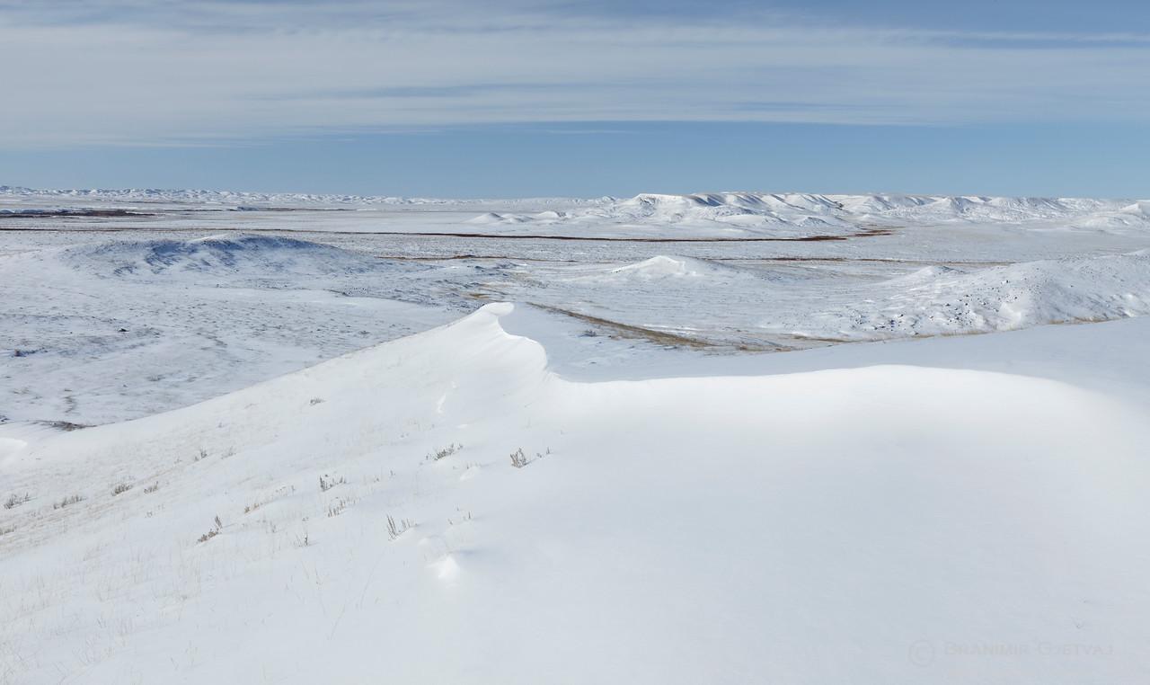 Grasslands National Park in winter, Saskatchewan (panorama)