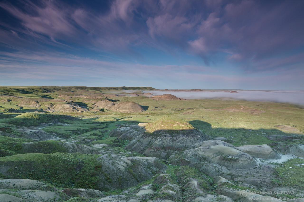Sunrise in badlands. Grasslands National Park, Saskatchewan