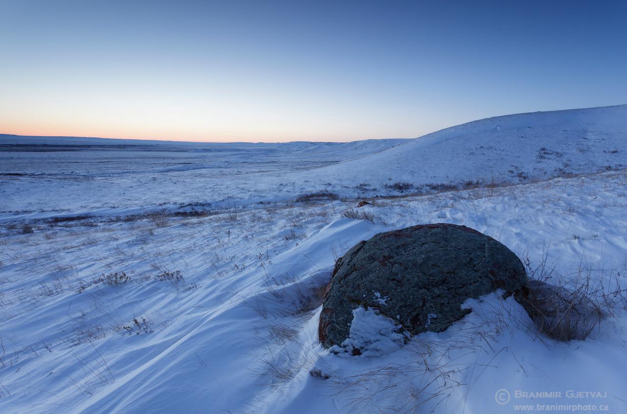 Winter twilight in Grasslands National Park, Saskatchewan