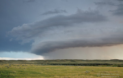 Dramatic storm cloud passing through Grasslands National Park, Saskatchewan