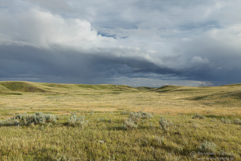 Storm clouds over Timbergulch coulee, Grasslands National Park, Saskatchewan