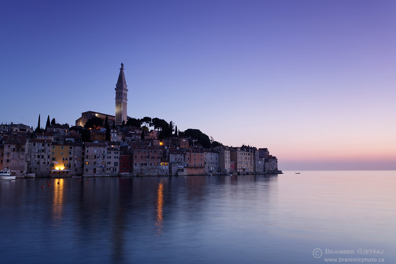 Old town of Rovinj at dusk. Istria, Croatia