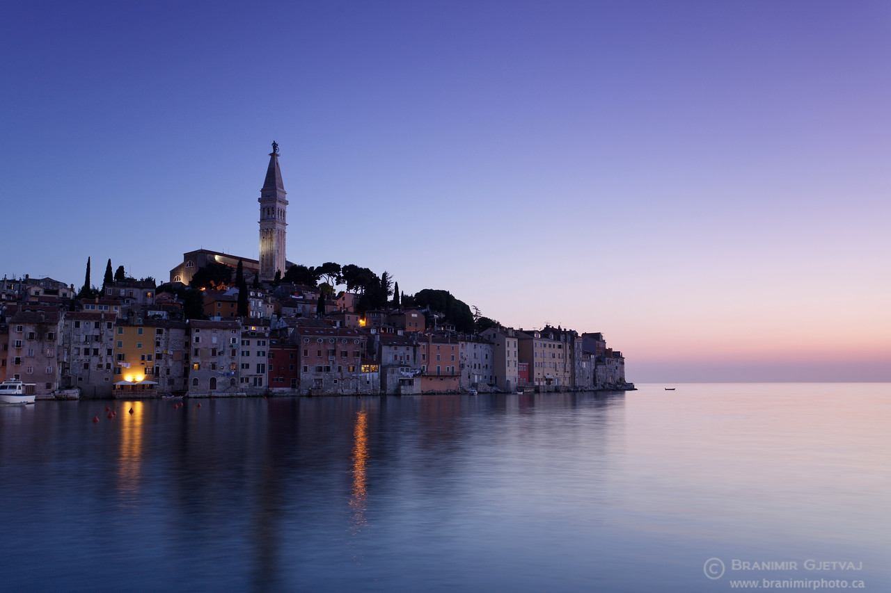 Old town of Rovinj at dusk. Istria, Croatia