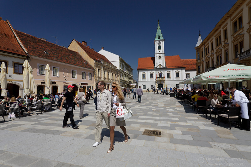 View of King Tomislav square in historic downtown Varazdin, Croatia
