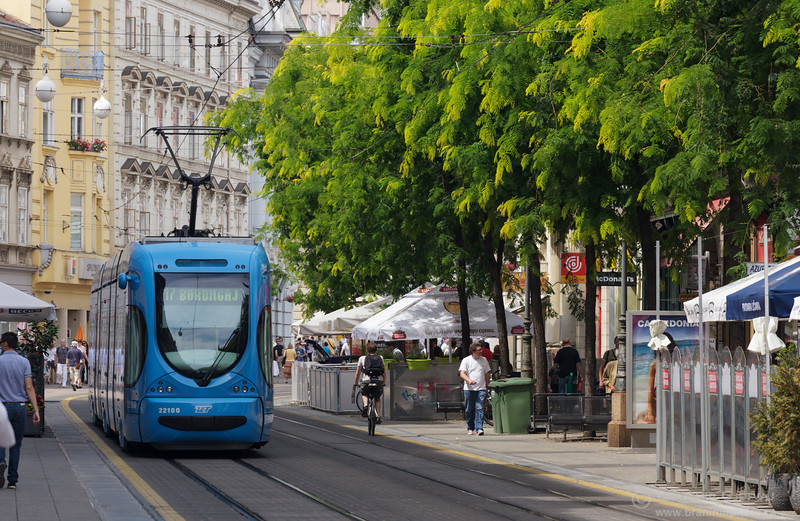 Electric streetcar on Jurišićeva street in downtown Zagreb, Croatia