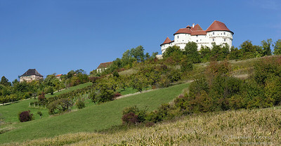 Panoramic view of Veliki Tabor castle in Hrvatsko Zagorje,, Croatia