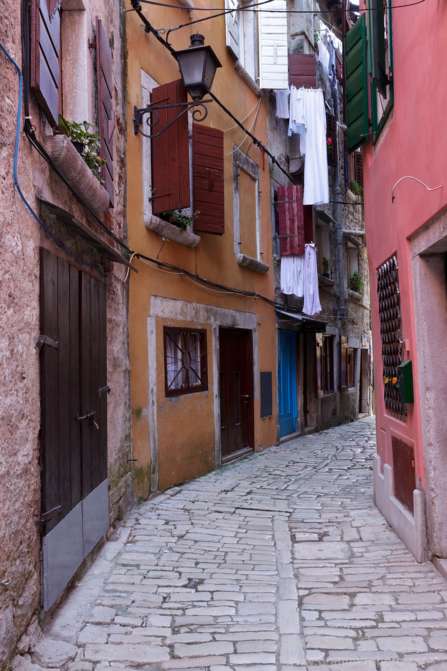 Cobblestone street in the old town of Rovinj. Istria, Croatia