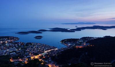 Aerial view of Hvar at dusk, Croatia