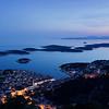 Aerial view of Hvar at dusk, Croatia