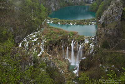 Aerial view of Sastavci waterfalls. Plitvice Lakes National Park, Croatia