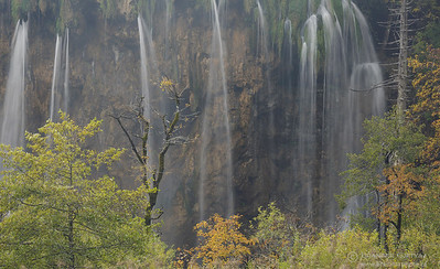 Veliki Prstavac waterfall in autumn. Plitvice Lakes National Park, Croatia