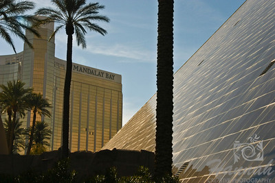 View of Luxor Hotel and Casino, and Mandalay Bay Hotel and Casino in Las Vegas, Nevada   © Copyright Hannah Pastrana Prieto