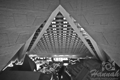 View from the top of Luxor Hotel and Casino in Las Vegas, Nevada.  A pyramid style of architecture in black and white.  © Copyright Hannah Pastrana Prieto