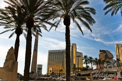 View of Luxor Hotel and Casino, and Mandalay Bay Hotel and Casino in Las Vegas, Nevada   © Copyright Hannah Pastrana Prieto